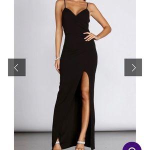 Windsor Floor Length Black Dress